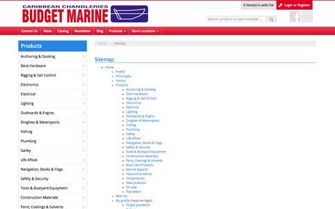 Screenshot of Site Map Page budgetmarine.com - Caribbean's Leading Chandlery - Budget Marine - captured Sept. 30, 2014