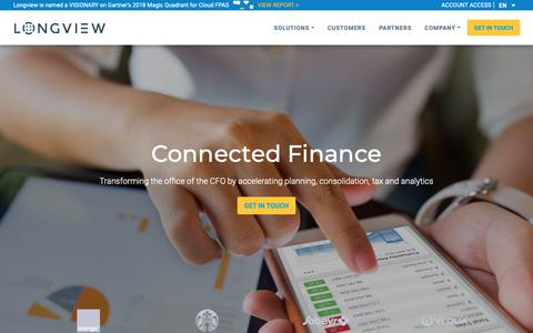 Screenshot of Home Page longview.com - Empowering Organizations through Connected Finance | Longview Solutions - captured Dec. 19, 2018