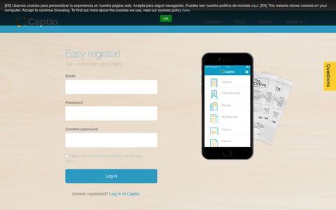 Screenshot of Signup Page captio.net - Register - captured July 11, 2016