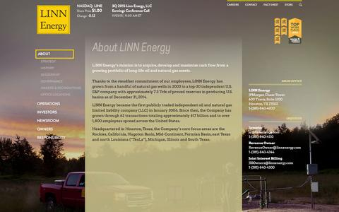 Screenshot of About Page linnenergy.com - LINN Energy, LLC | About LINN Energy |  NASDAQ: LINE | Energy, Natural Gas, Oil, Operations - captured Jan. 18, 2016
