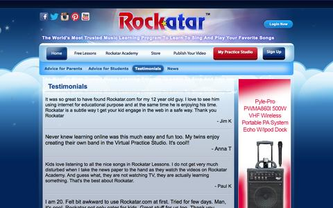 Screenshot of Testimonials Page rockatar.com - Testimonials | Online music education program | Rockatar.com - captured Oct. 9, 2014