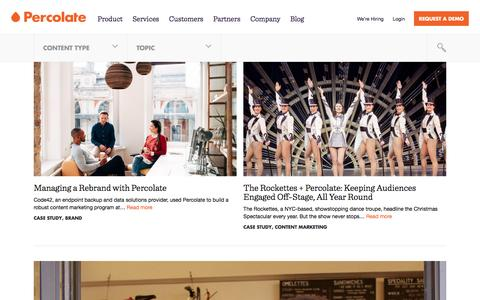 Screenshot of Case Studies Page percolate.com - case study Archives | Content Marketing Resources + Insights | Percolate - captured Oct. 19, 2016