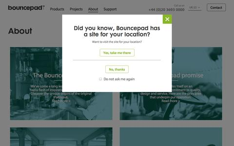 Screenshot of About Page bouncepad.com - About Bouncepad | Everything you need to know about us - captured Sept. 22, 2014