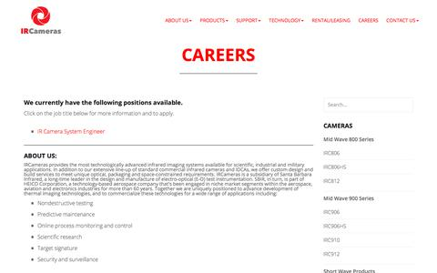 Screenshot of Jobs Page ircameras.com - Careers - IR Cameras - captured July 25, 2018