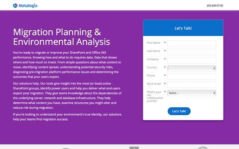 Screenshot of Landing Page metalogix.com - Migration Planning & Environmental Analysis Solutions Consult - captured Nov. 10, 2017