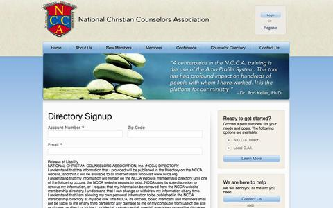 Screenshot of Signup Page ncca.org - Licensed professional counselor training, Christian marriage counseling – National Christian Counselors Association - captured Oct. 7, 2014