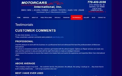 Screenshot of Testimonials Page motorcarsintl.com - Premium Auto Repair Marietta | Testimonials | Motorcars International Atlanta - captured Oct. 26, 2014