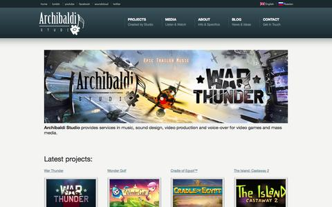 Screenshot of Home Page Privacy Page Terms Page archibaldistudio.com - Archibaldi Studio - music, sound design and voice-over. Archibaldi Studio - captured Sept. 30, 2014