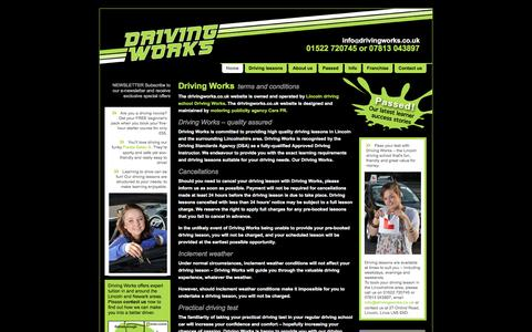 Screenshot of Terms Page drivingworks.co.uk - Lincoln driving school Driving Works - website terms and conditions - captured Jan. 7, 2016