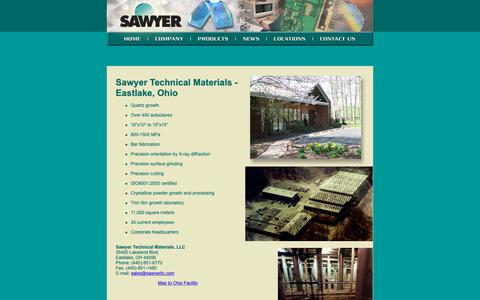 Screenshot of Locations Page sawyerllc.com - Sawyer Technical Materials - Expanding Efficiencies in Hydrothermal Technology - captured Oct. 2, 2018