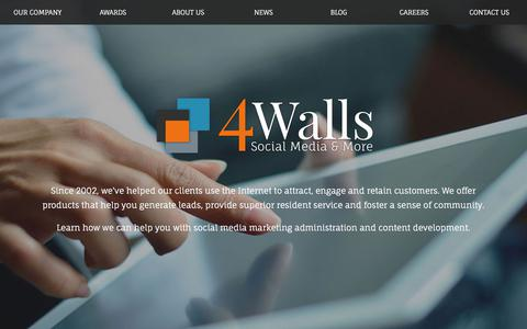 Screenshot of Home Page 4walls.net - 4 Walls | Social Media & More | Multifamily Marketing - captured Feb. 25, 2018