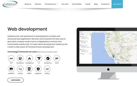 Screenshot of Services Page cyblance.com - Custom Web development | Mobile application development | UI/UX design and development - captured Sept. 30, 2018