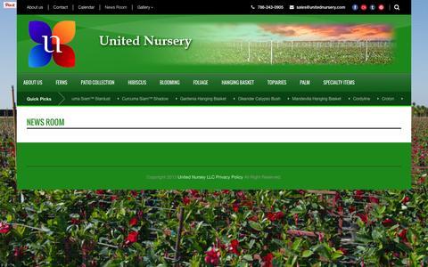 Screenshot of Press Page unitednursery.com - United Nursery LLC  News Room - United Nursery LLC - captured Oct. 27, 2014