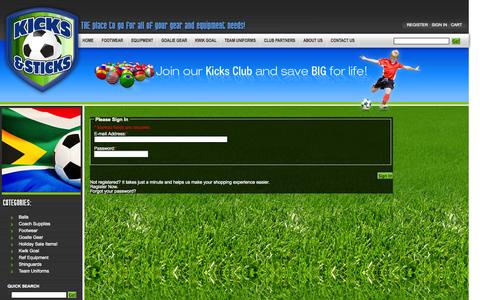 Screenshot of Login Page kicks-sticks.com - Kicks & Sticks - captured Oct. 6, 2014
