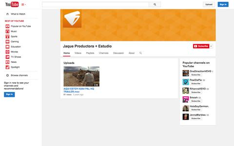 Screenshot of YouTube Page youtube.com - Jaque Productora + Estudio  - YouTube - captured Oct. 23, 2014