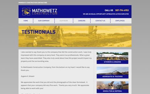 Screenshot of Testimonials Page mathiowetzconst.com - Testimonials | Mathiowetz Construction - captured Oct. 27, 2014