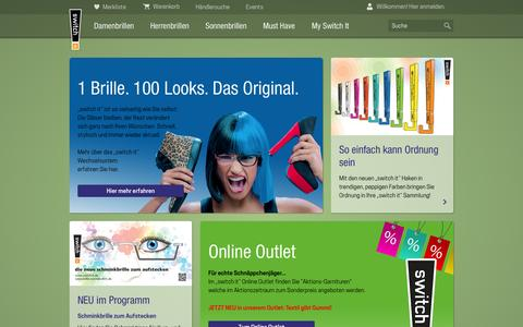 "Screenshot of Home Page switch-it.de - ""switch it"" online Brillenshop - captured Sept. 15, 2015"