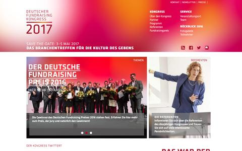Screenshot of Home Page fundraising-kongress.de - Fundraising Kongress 2016 - captured June 11, 2016