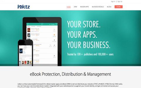 Screenshot of Home Page lektz.com - Lektz - eBook Protection | Distribution & Management - captured March 24, 2016