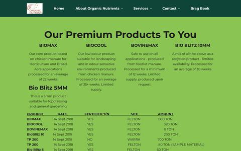 Screenshot of Products Page organicnutrients.com.au captured Oct. 19, 2018