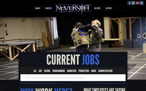Screenshot of Jobs Page neversoft.com - Neversoft Entertainment   Careers - captured Sept. 19, 2014