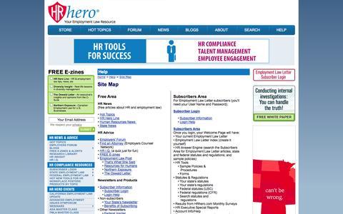 Screenshot of Site Map Page hrhero.com - HRhero.com: Site Map - captured Sept. 23, 2014