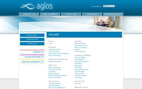 Screenshot of Site Map Page agios.com - Agios - captured July 20, 2014