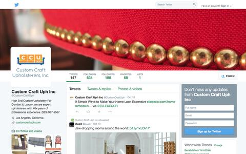 Screenshot of Twitter Page twitter.com - Custom Craft Uph Inc (@CustomCraftUph) | Twitter - captured Oct. 23, 2014