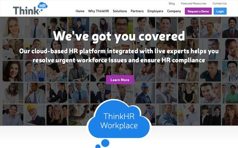 Screenshot of Home Page thinkhr.com - ThinkHR | HR Advice | HR Answers | Human Resource Consultants - Join The HR Knowledge Revolution! | ThinkHR | Call Now: 925.225.1100 | Pleasanton, California - captured Sept. 17, 2014