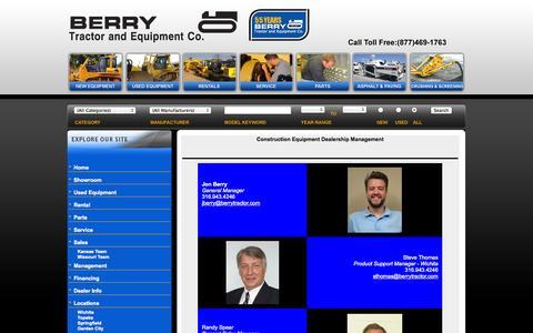 Screenshot of Team Page berrytractor.com - Equipment Sales, Service, Parts, Rental, Financing KS & MO | Contact Us for Excavator, Motor Grader & Dozer Sales, Repairs, Rentals, Maintenance - captured Oct. 5, 2014