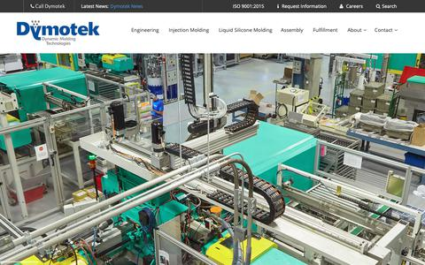 Screenshot of Home Page dymotek.com - Plastic Injection Molding and Silicone Molding - captured Feb. 3, 2019