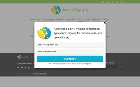 Screenshot of Press Page aerofarms.com - AeroFarms - Media - AeroFarms - captured July 9, 2018