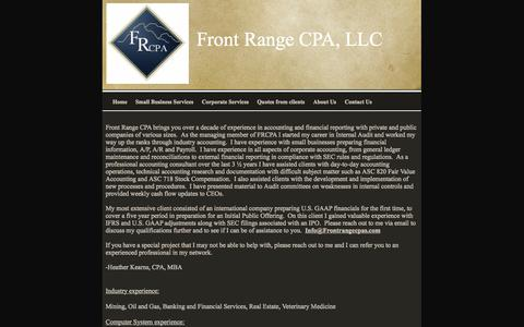 Screenshot of About Page frontrangecpas.com - Professional accounting services, Front Range CPA, LLC About Us - captured Oct. 6, 2014