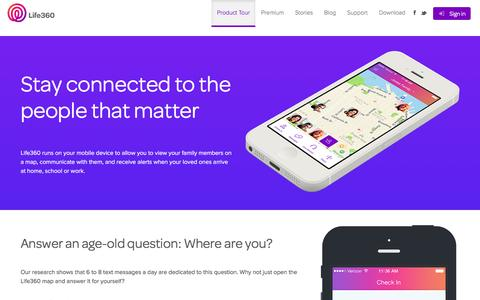 Screenshot of life360.com - Product Tour | Life360 - The New Family Circle - captured March 19, 2016