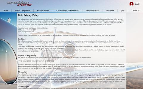 Screenshot of Privacy Page aersolution.com - Aircraft Interior | Aersolution Interior AG | Switzerland | Data Privacy Policy - captured Oct. 4, 2018