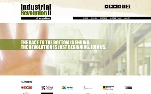 Screenshot of Home Page irii.com - Industrial Revolution II – Socially Responsible Garment Manufacturing - captured Oct. 6, 2014