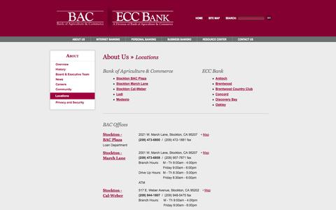 Screenshot of Locations Page bankbac.com - BAC - Regional Bank of Stockton, Lodi, Modesto - Personal, Business, & Online Banking & Investments - captured Nov. 3, 2014