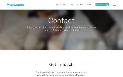 Screenshot of Contact Page metromile.com - Contact - Metromile - captured July 4, 2016