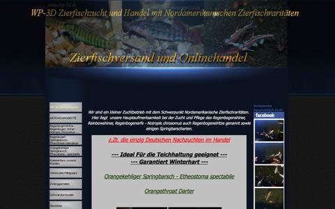 Screenshot of Home Page wp-3d.de - WP-3d Zierfischzucht und Handel mit Nordamerikanischen Zierfischraritäten   Zierfischversand und Onlinehandel - captured June 20, 2015
