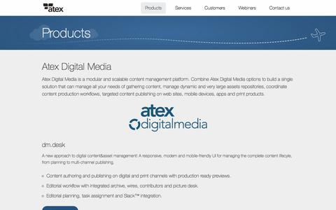 Screenshot of Products Page atex.com - Atex - Products - captured July 31, 2018