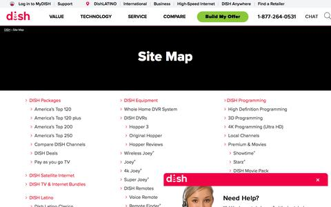 Screenshot of Site Map Page dish.com - DISH.com Sitemap - captured Feb. 17, 2020
