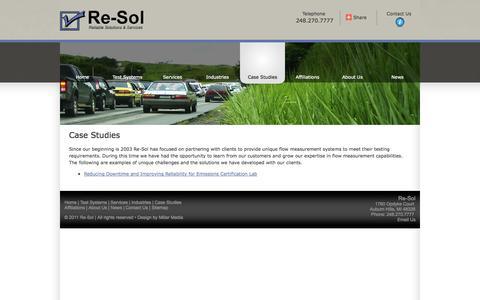Screenshot of Case Studies Page re-sol.com - Case Studies - captured Oct. 28, 2014