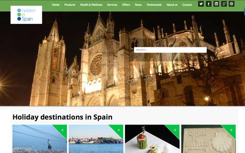 Screenshot of Home Page hiddeninspain.com - Holiday Destinations in Spain - Bespoke Holidays - Hidden in Spain - captured July 19, 2018
