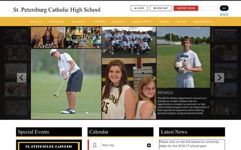 Screenshot of Home Page spchs.org - St. Petersburg Catholic High School - captured Feb. 24, 2016