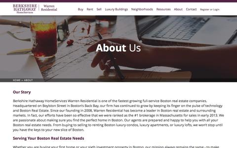 Screenshot of About Page warrenre.com - Berkshire Hathaway HomeServices Warren Residential | Boston Real Estate | BHHS Warren RE - captured Sept. 7, 2016