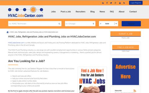 Screenshot of About Page hvacjobscenter.com - HVAC Jobs, Refrigeration Jobs and Plumbing Jobs - captured Nov. 4, 2018