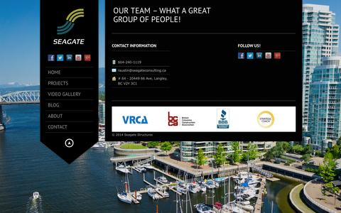 Screenshot of Team Page seagatestructures.ca - Seagate Structures – Construction and Consulting Services     Our Team –  what a great group of people! - captured Aug. 2, 2015