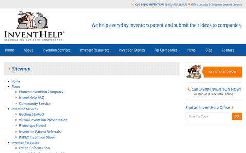 Screenshot of Site Map Page inventhelp.com - InventHelp.com Site Map - captured Oct. 29, 2014