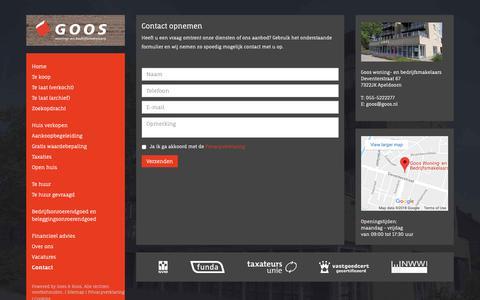 Screenshot of Contact Page goos.nl - Contact opnemen - De woningmakelaars Goos - captured Sept. 29, 2018
