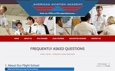 Screenshot of FAQ Page flyaaa.com - Frequently Asked Questions - American Aviation AcademyAmerican Aviation Academy - captured Feb. 6, 2016